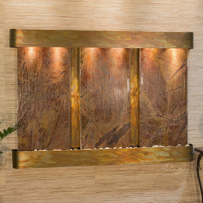 Olympus Falls - Rainforest Brown Marble - Rustic Copper - Rounded Corners - Soothing Walls