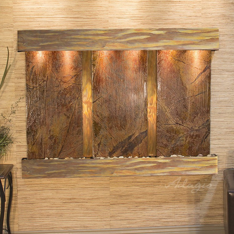 Olympus Falls: Rainforest Brown Marble and Rustic Copper Trim with Squared Corners
