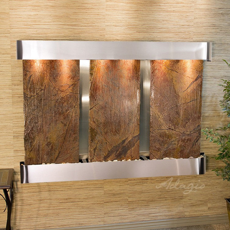 Olympus Falls: Rainforest Brown Marble and Stainless Steel Trim with Rounded Corners