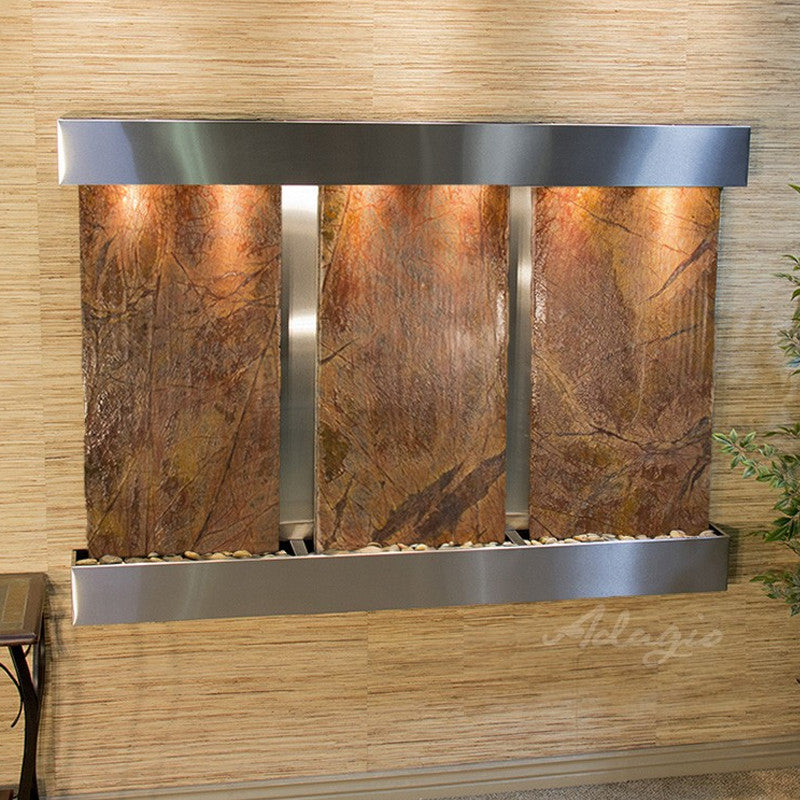 Olympus Falls - Rainforest Brown Marble - Stainless Steel - Squared Corners - Soothing Walls