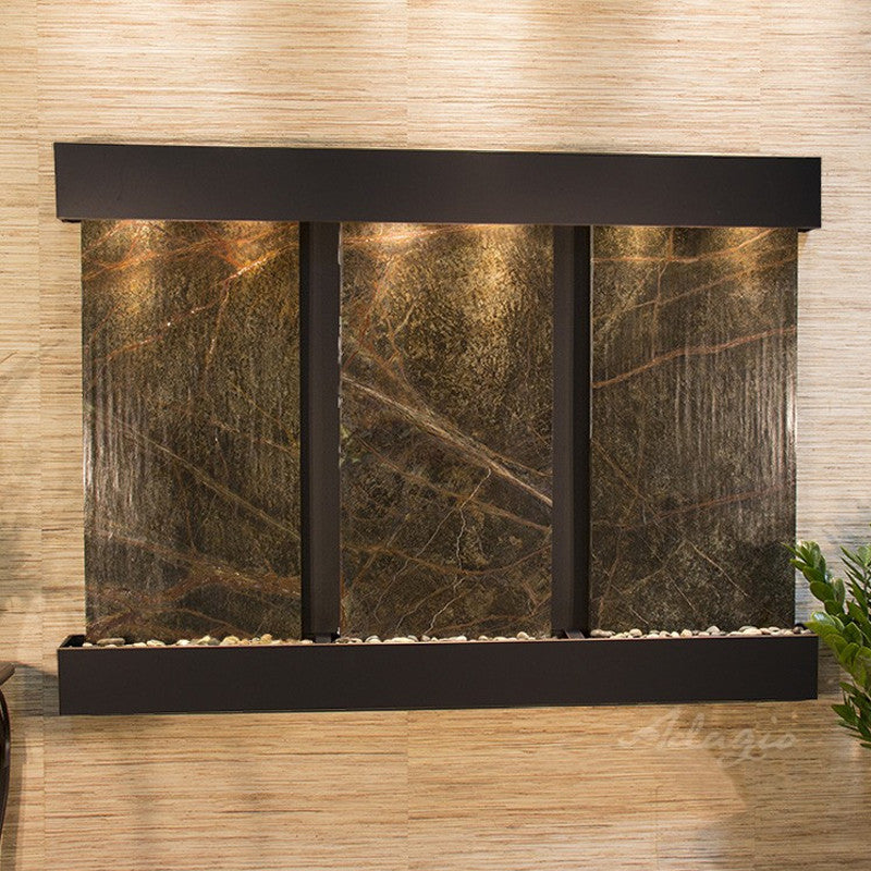 Olympus Falls: Rainforest Green Marble and Blackened Copper Trim with Squared Corners