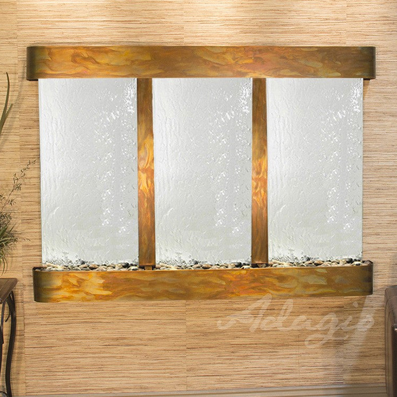 Olympus Falls: Silver Mirror and Rustic Copper Trim with Rounded Corners