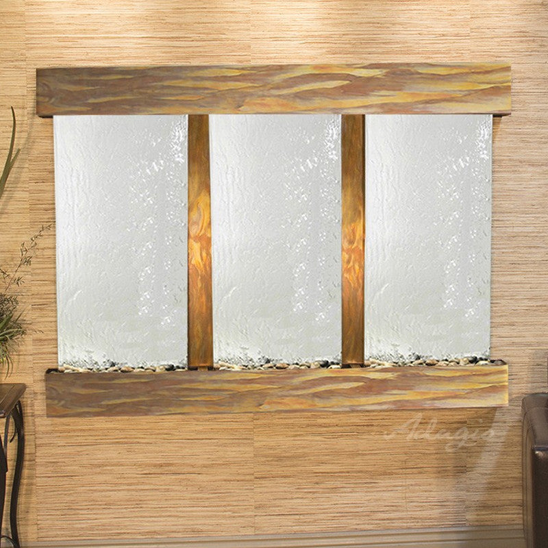 Olympus Falls: Silver Mirror and Rustic Copper Trim with Squared Corners