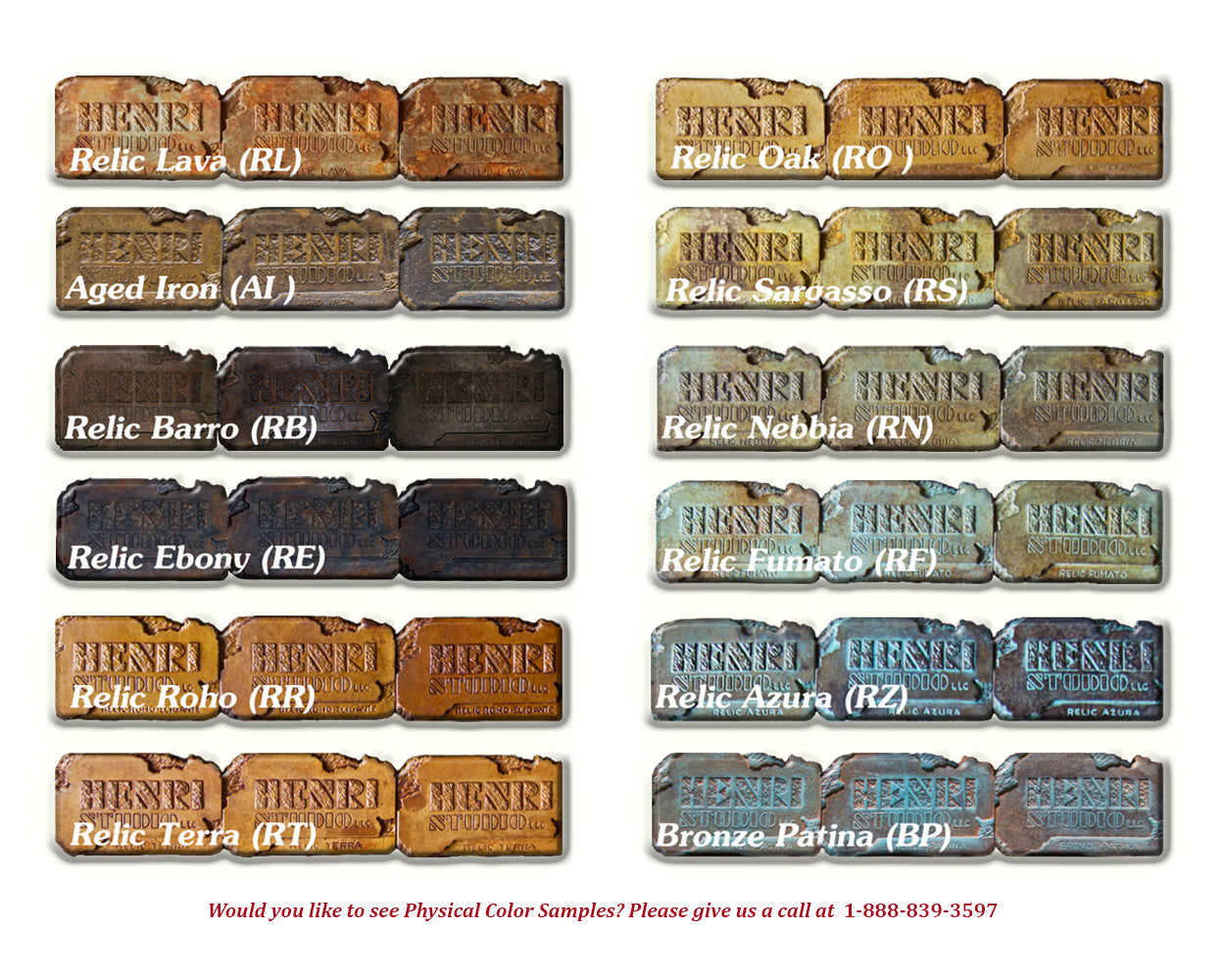Henri Studio Relic Color Chart - Soothing Walls