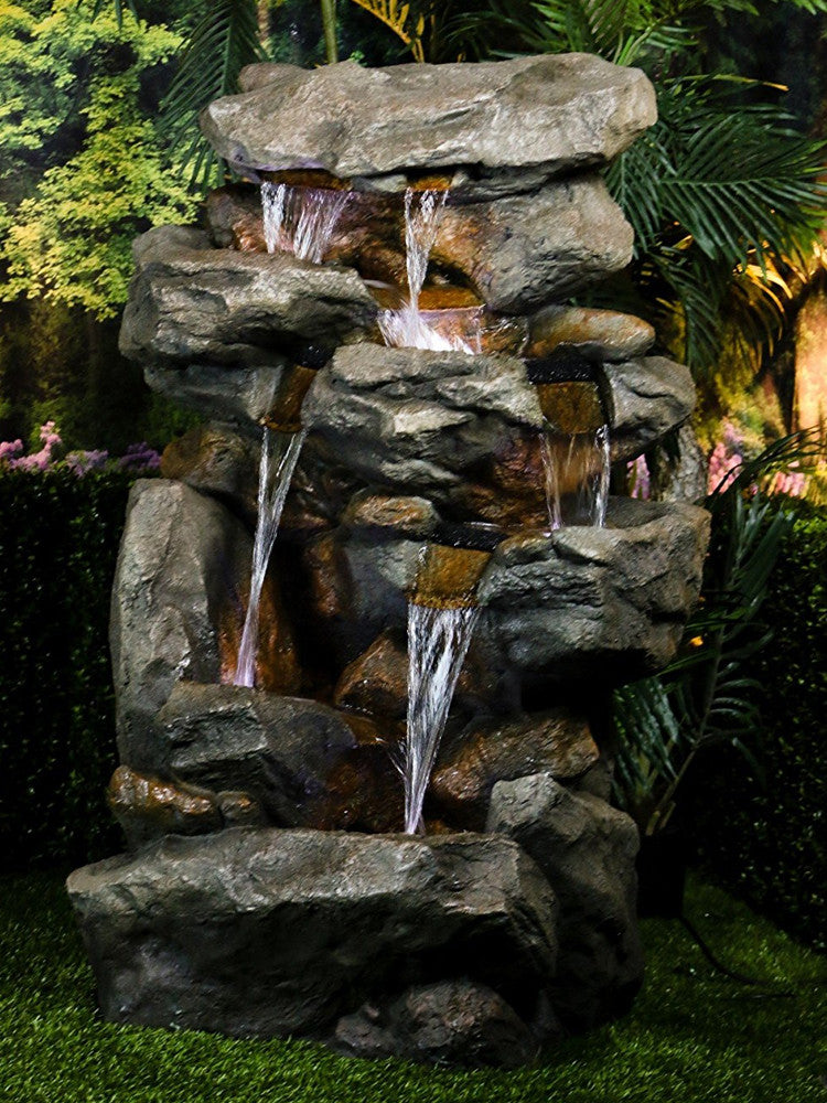 Tall Rainforest Waterfall Fountain LED Lights - Soothing Walls