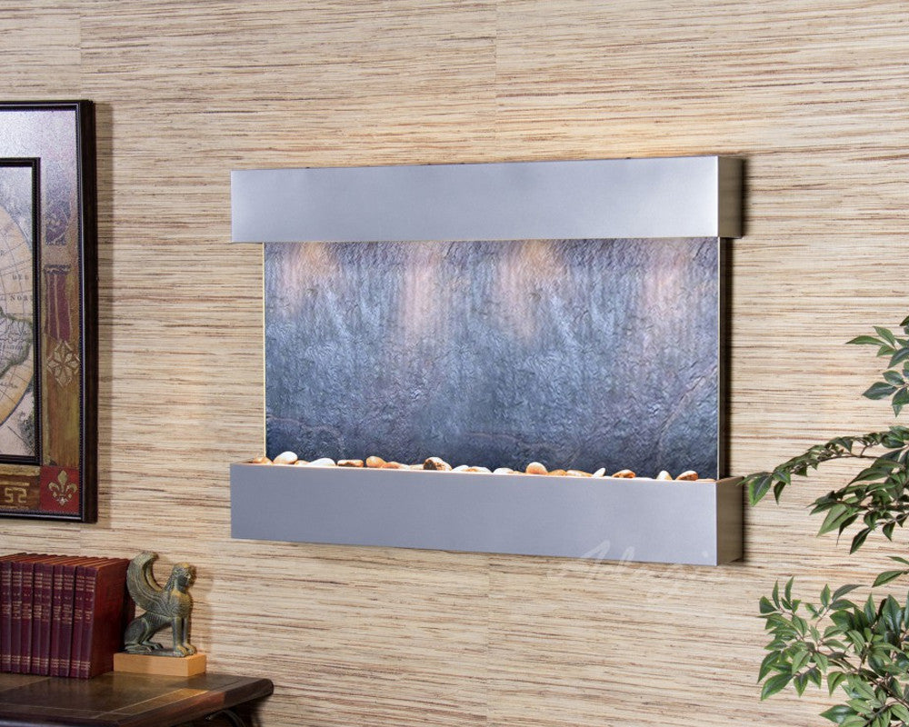 Reflection Creek - Black FeatherStone - Silver Metallic - Soothing Walls