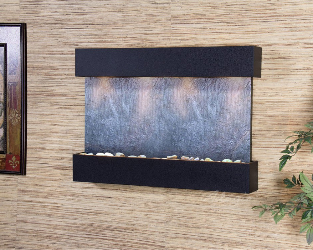 Reflection Creek - Black FeatherStone - Textured Black - Soothing Walls