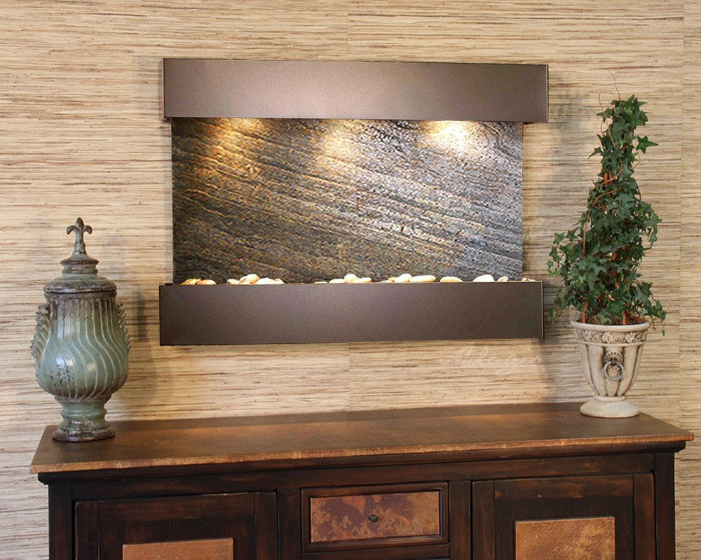 Reflection Creek - Green FeatherStone - Antique Bronze - Soothing Walls