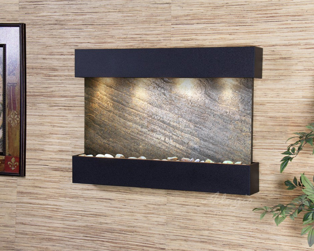 Reflection Creek - Green FeatherStone - Textured Black - Soothing Walls