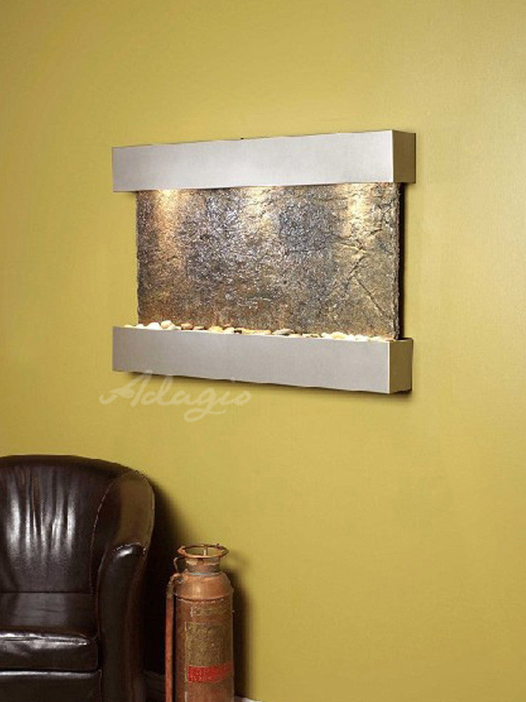 Reflection Creek - Green Slate - Silver Metallic - Soothing Walls