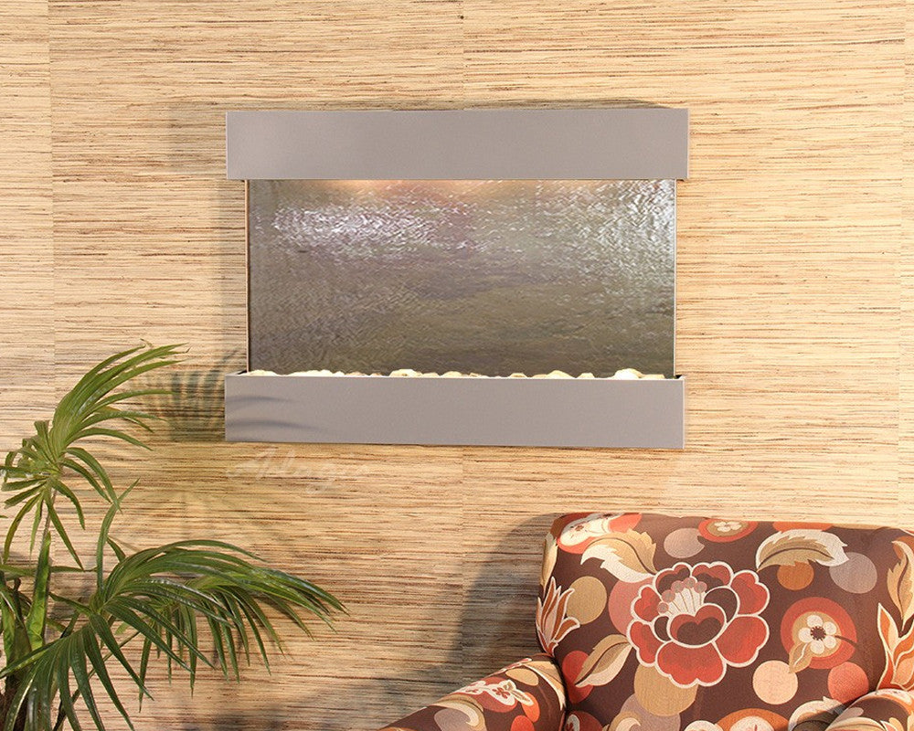 Reflection Creek - Multi-Color FeatherStone - Silver Metallic - Soothing Walls