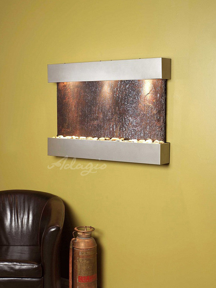 Reflection Creek - Multi-Color Slate - Silver Metal - Soothing Walls