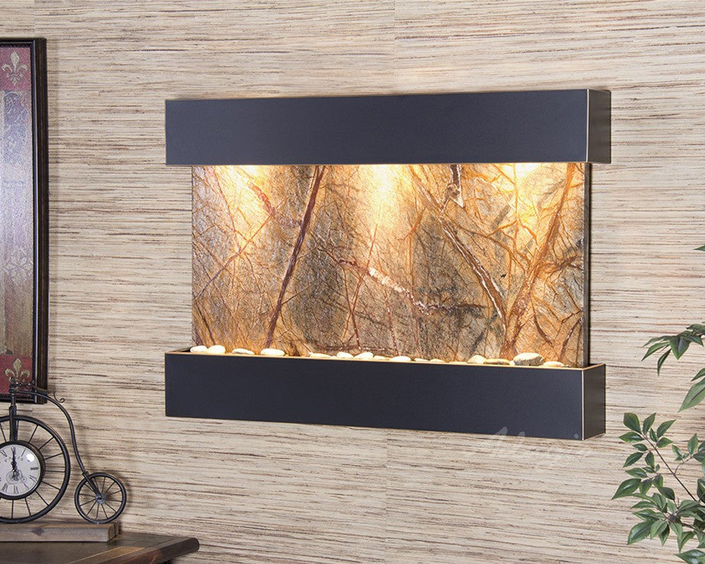 Reflection Creek: Rainforest Brown Marble and Blackened Copper Trim