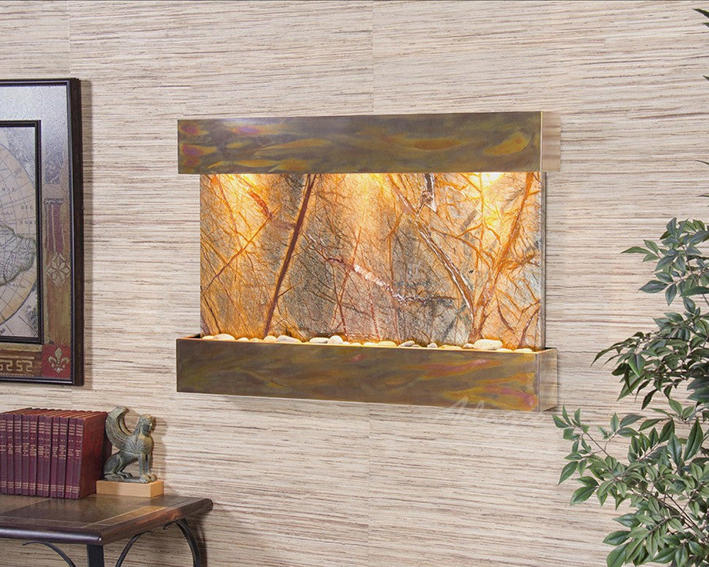 Reflection Creek: Rainforest Brown Marble and Rustic Copper Trim