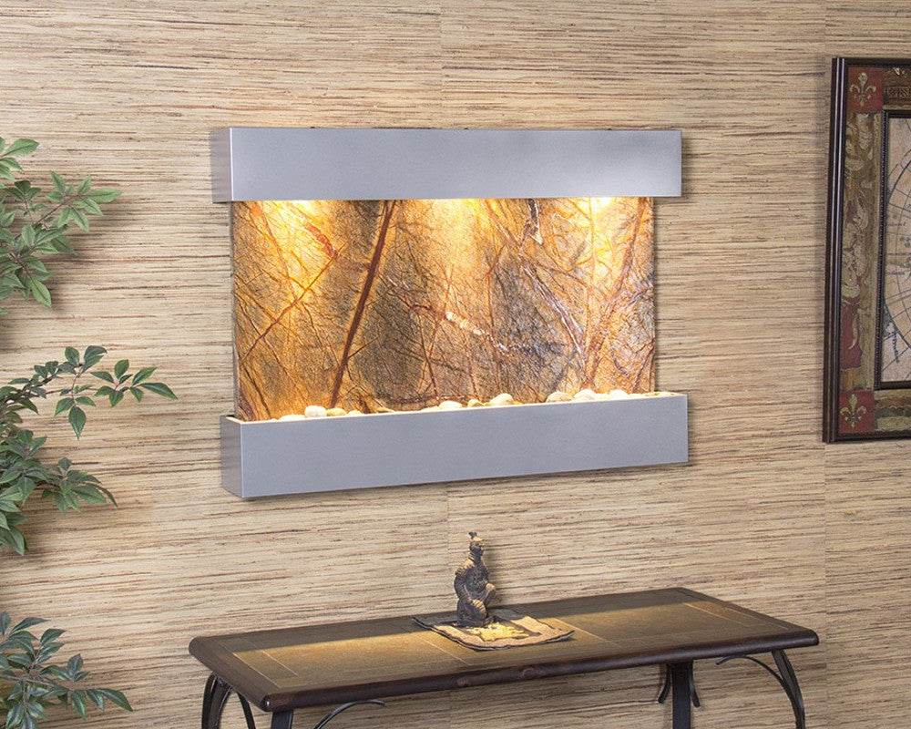 Reflection Creek - Rainforest Brown Marble - Silver Metallic - Soothing Walls