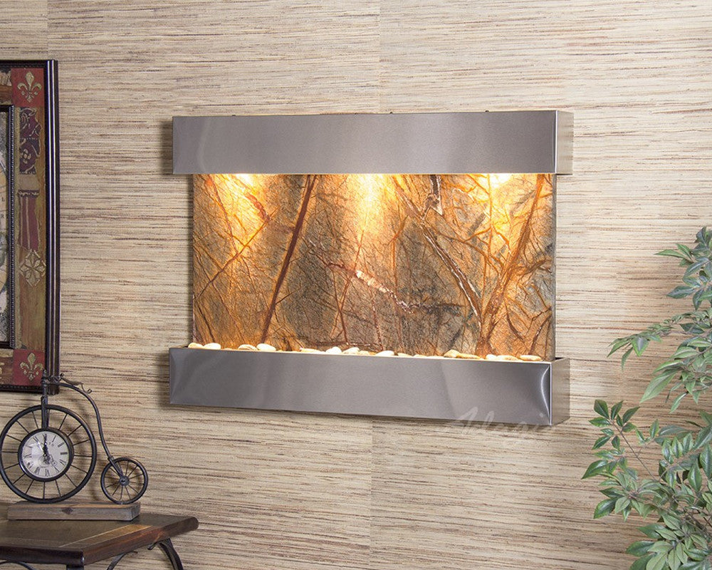 Reflection Creek - Rainforest Brown Marble - Stainless Steel - Soothing Walls