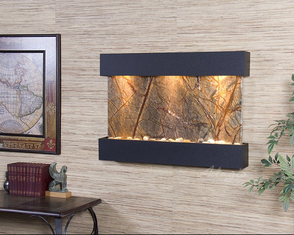 Reflection Creek: Rainforest Brown Marble and Textured Black Trim