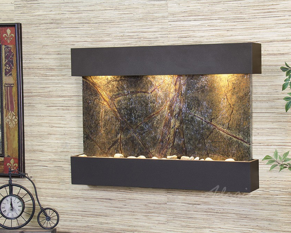 Reflection Creek - Rainforest Green Marble - Antique Bronze - Soothing Walls