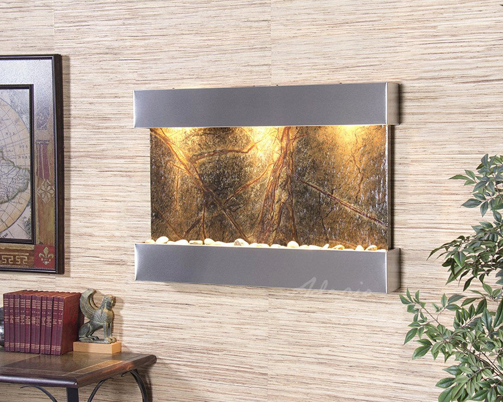 Reflection Creek - Rainforest Green Marble - Stainless Steel - Soothing Walls