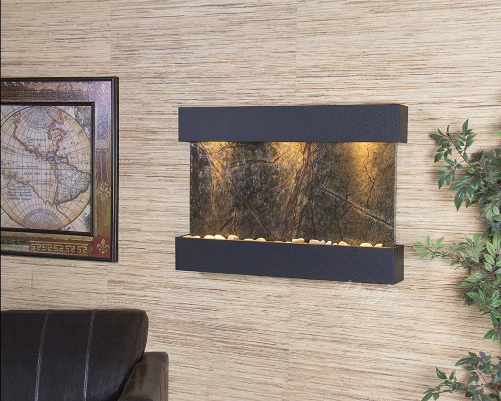 Reflection Creek - Rainforest Green Marble - Textured Black - Soothing Walls