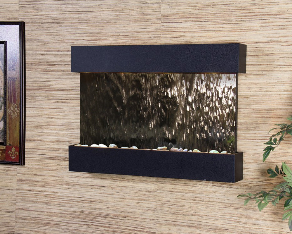 Reflection Creek - Silver Mirror - Textured Black - Soothing Walls