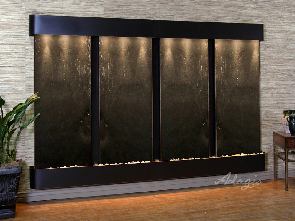 Regal Falls - Black FeatherStone - Blackened Copper - Rounded Corners - Soothing Walls