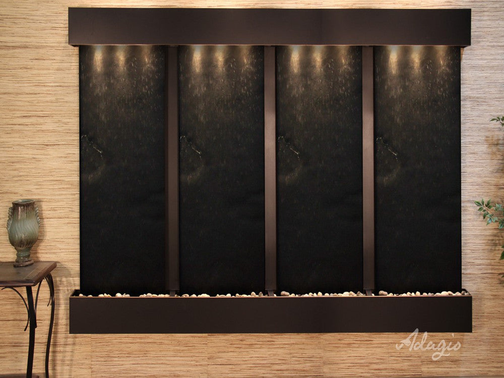 Regal Falls - Black FeatherStone - Blackened Copper - Squared Corners - Soothing Walls