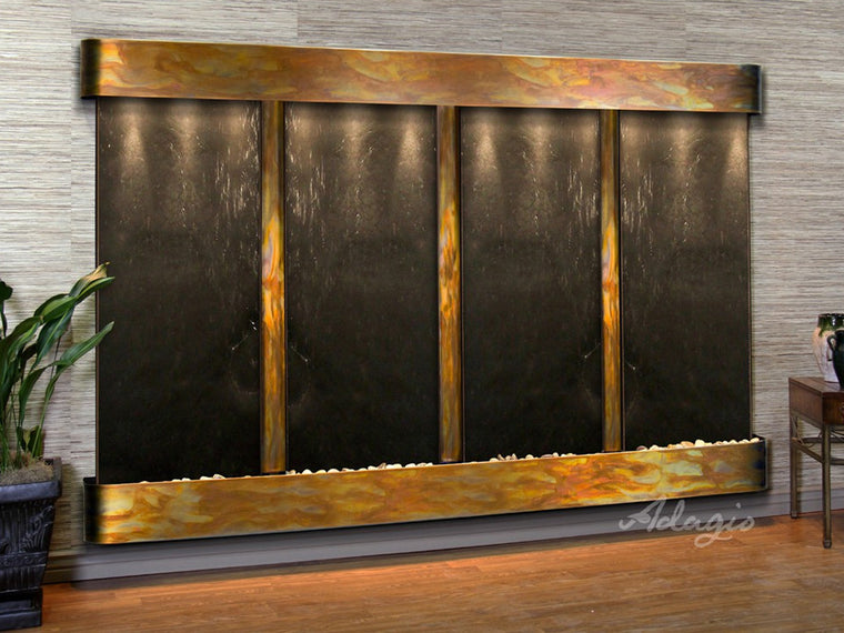 Regal Falls:  Black FeatherStone and Rustic Copper Trim with Rounded Corners