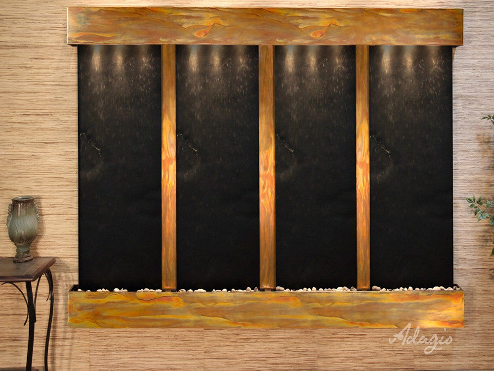Regal Falls: Black FeatherStone and Rustic Copper Trim with Squared Corners