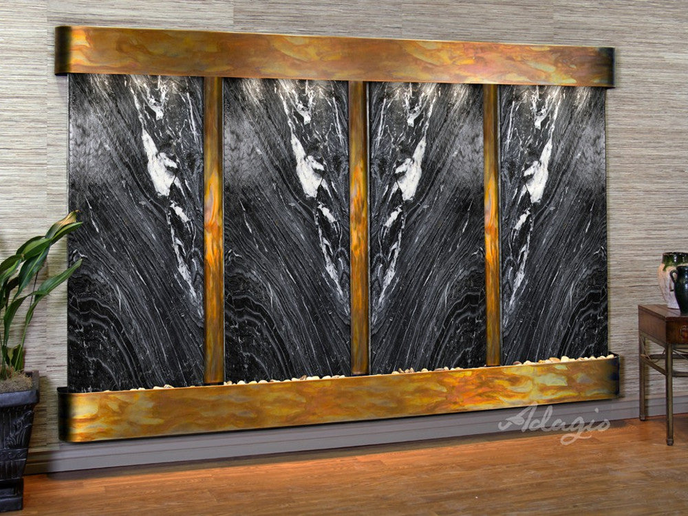 Regal Falls:  Black Spider Marble and Rustic Copper Trim with Rounded Corners