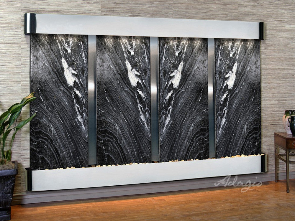 Regal Falls: Black Spider Marble and Stainless Steel Trim with Rounded Corners