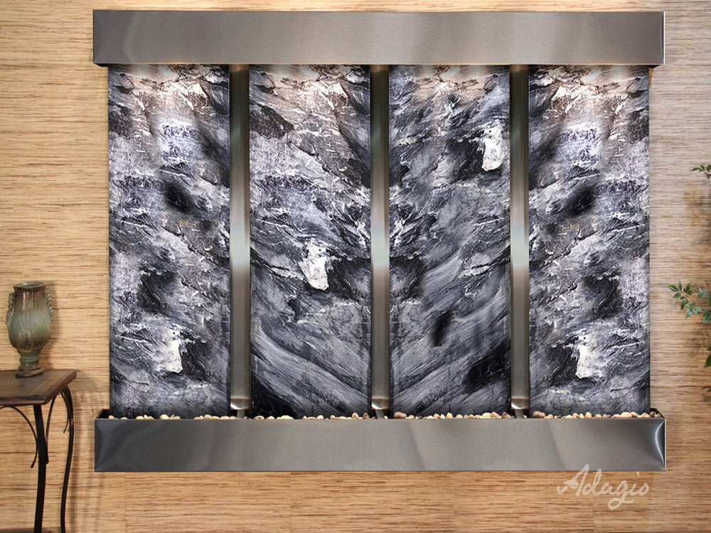 Regal Falls: Black Spider Marble and Stainless Steel Trim with Squared Corners