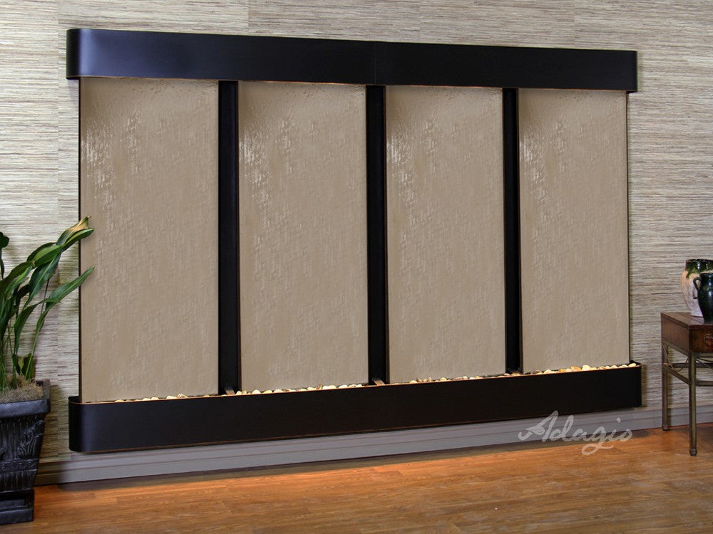 Regal Falls - Bronze Mirror - Blackened Copper - Rounded Corners - Soothing Walls