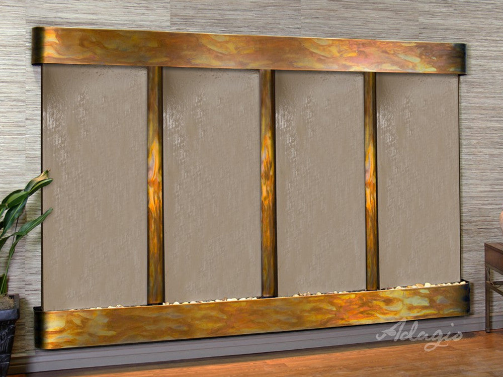 Regal Falls: Bronze Mirror and Rustic Copper Trim with Rounded Corners