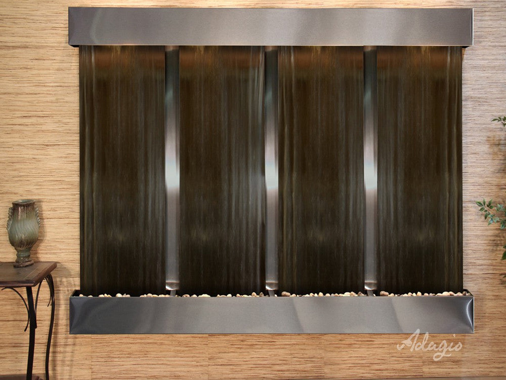 Regal Falls:  Bronze Mirror and Stainless Steel Trim with Squared Corners