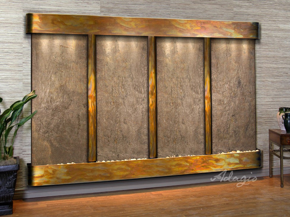 Regal Falls - Green FeatherStone - Rustic Copper - Rounded Corners - Soothing Walls