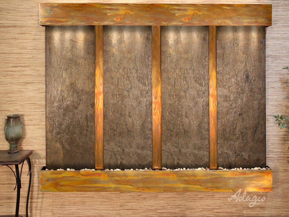 Regal Falls - Green FeatherStone - Rustic Copper - Squared Corners - Soothing Wall