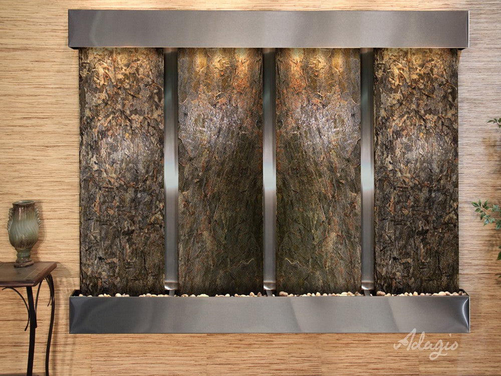 Regal Falls:  Green Slate and Stainless Steel Trim with Squared Corners