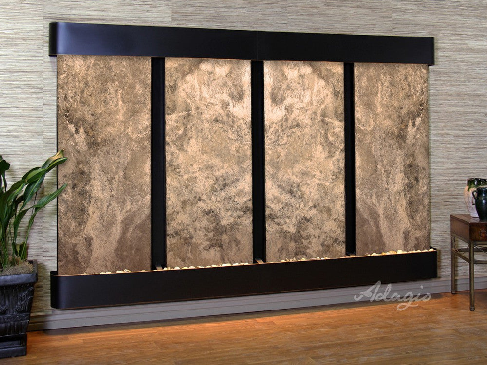 Regal Falls: Magnifico Travertine and Blackened Copper Trim with Rounded Corners