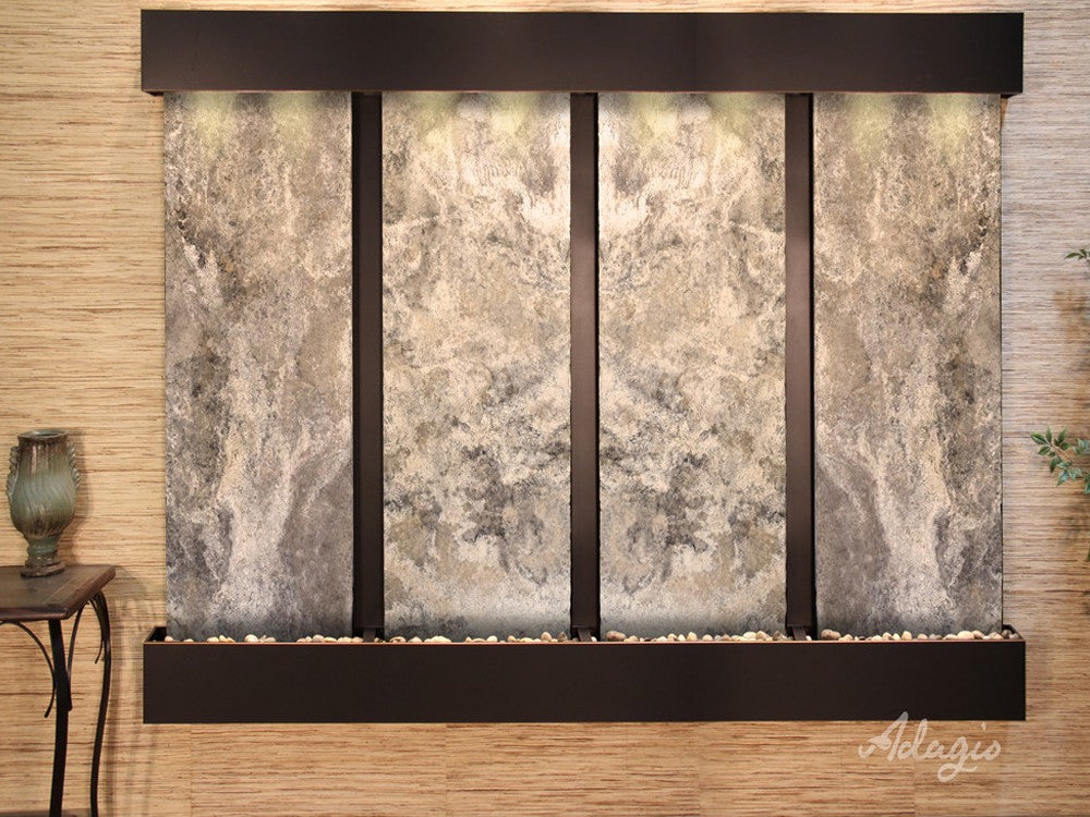 Regal Falls: Magnifico Travertine and Blackened Copper Trim with Squared Corners