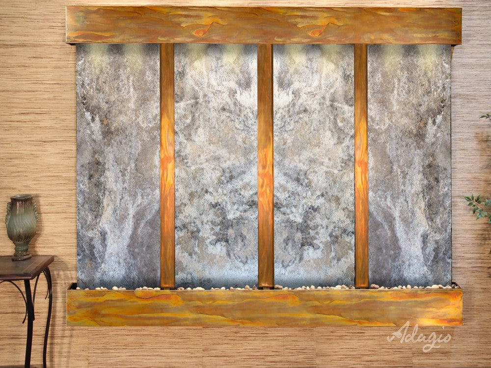 Regal Falls - Magnifico Travertine - Rustic Copper - Squared Corners - Soothing Walls