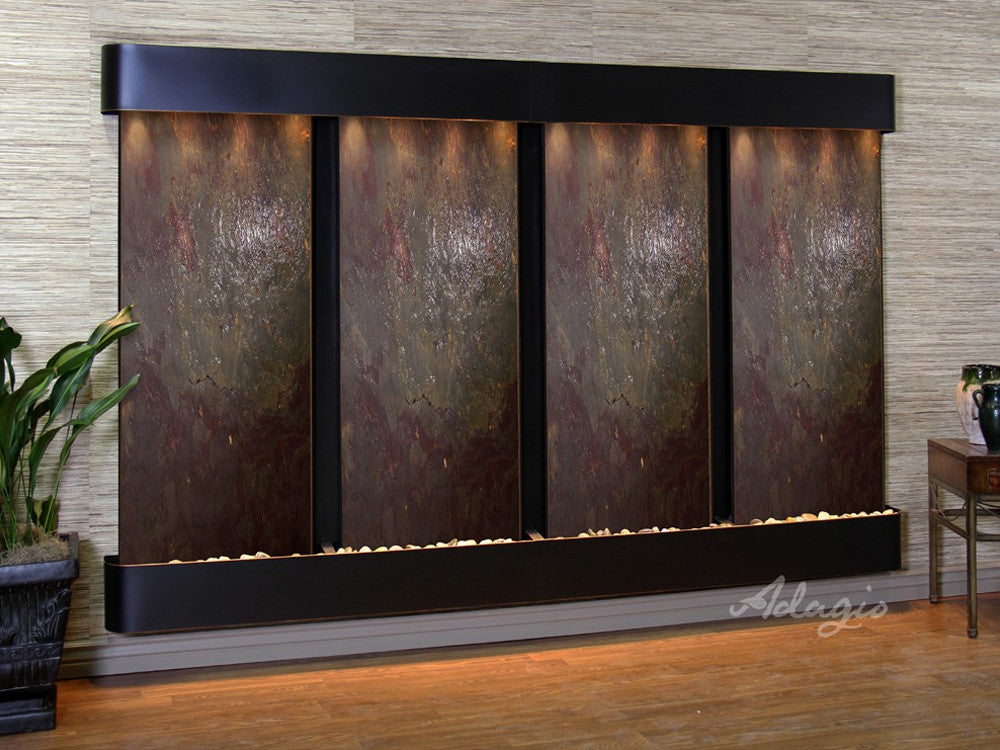 Regal Falls - Multi-Color FeatherStone - Blackened Copper - Rounded Corners - Soothing Walls