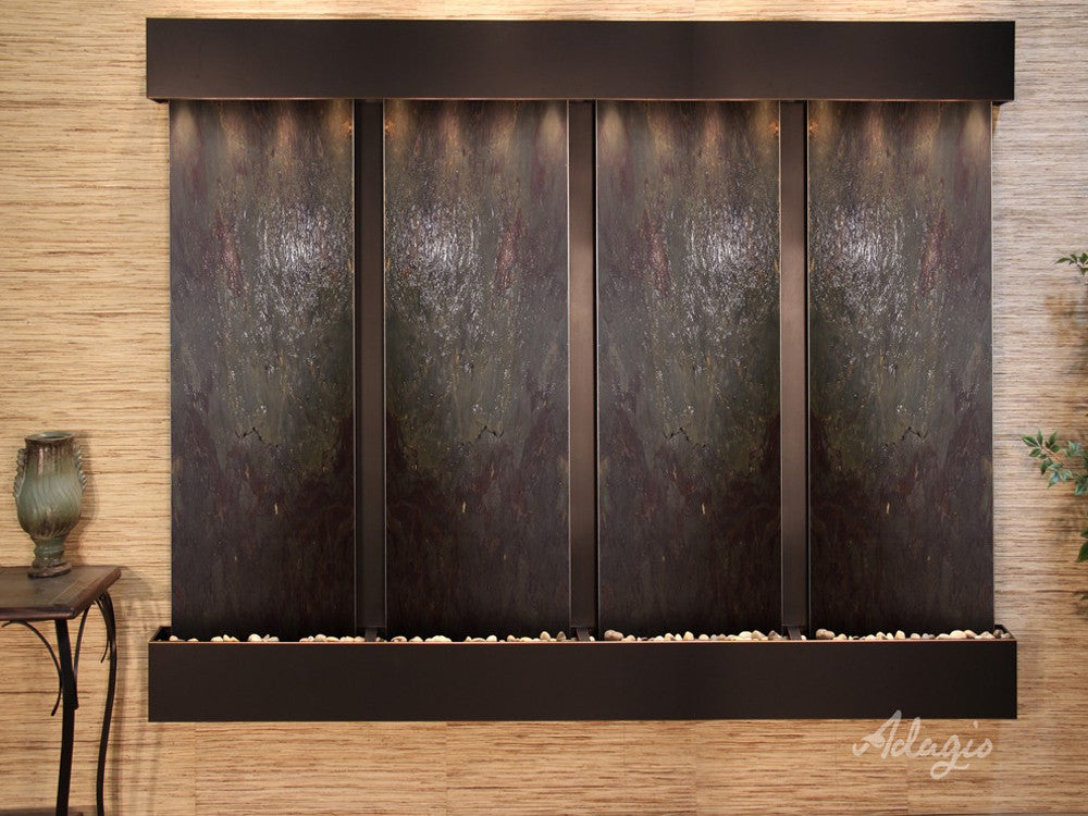Regal Falls - Multi-Color FeatherStone - Blackened Copper - Squared Corners - Soothing Walls