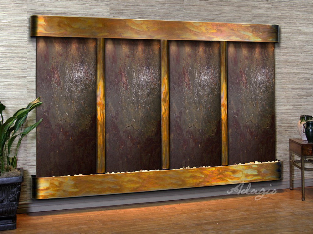 Regal Falls - Multi-Color FeatherStone - Rustic Copper - Rounded Corners - Soothing Walls