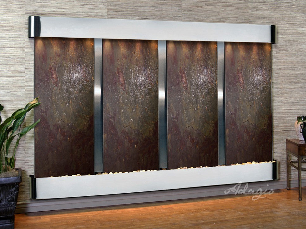 Regal Falls - Multi-Color FeatherStone - Stainless Steel - Rounded Corners - Soothing Walls
