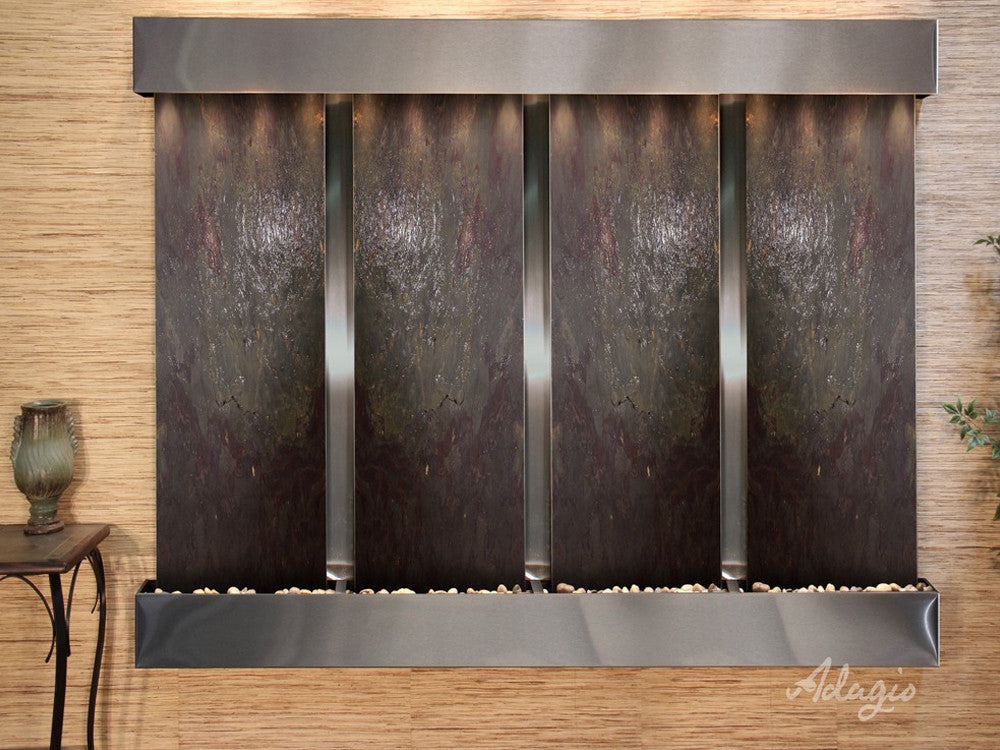 Regal Falls: Multi-Color FeatherStone and Stainless Steel Trim with Squared Corners
