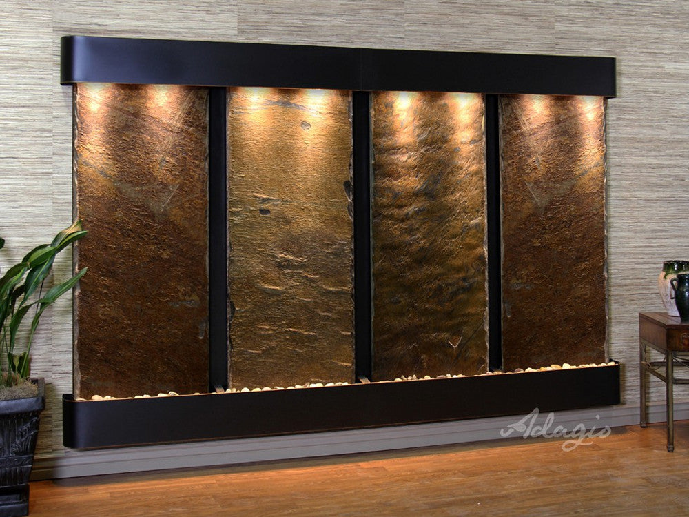 Regal Falls - Multi-Color Slate - Blackened Copper - Rounded Corners - Soothing Walls