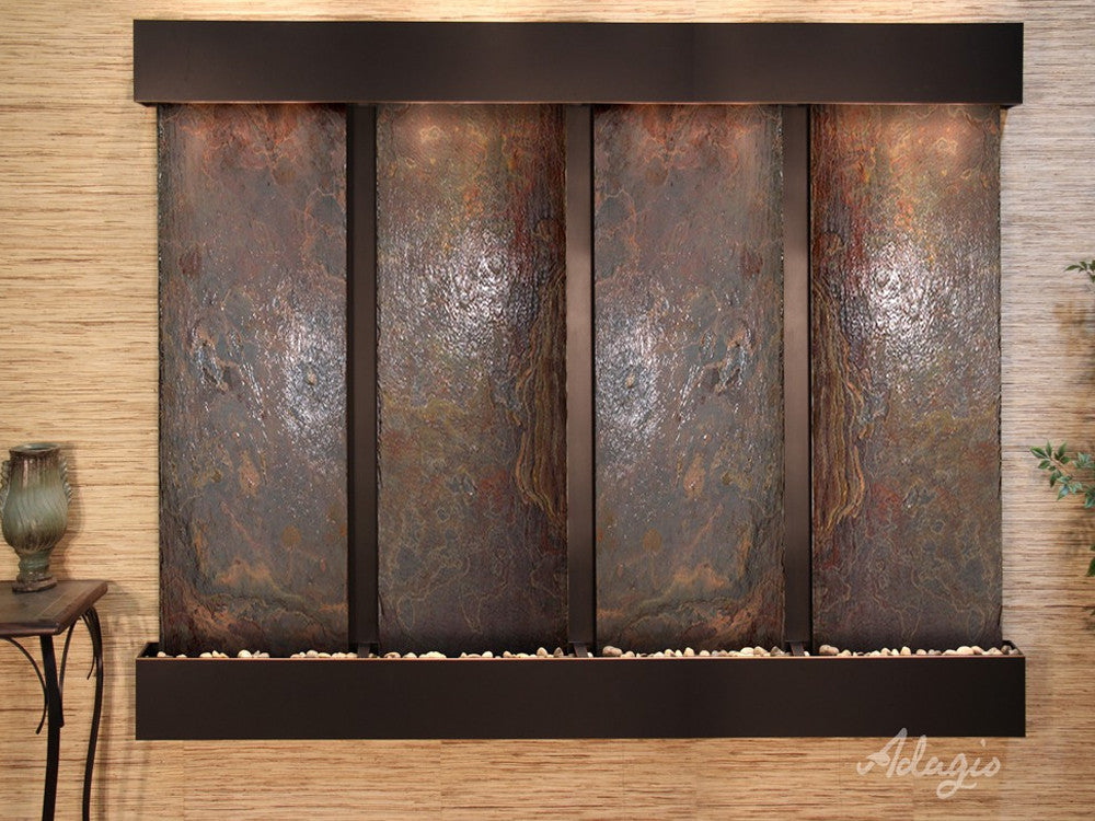 Regal Falls:  Multi-Color Slate and Blackened Copper Trim with Squared Corners