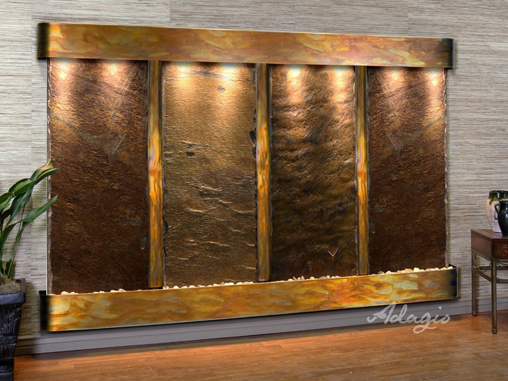 Regal Falls - Multi-Color Slate - Rustic Copper - Rounded Corners - Soothing Walls