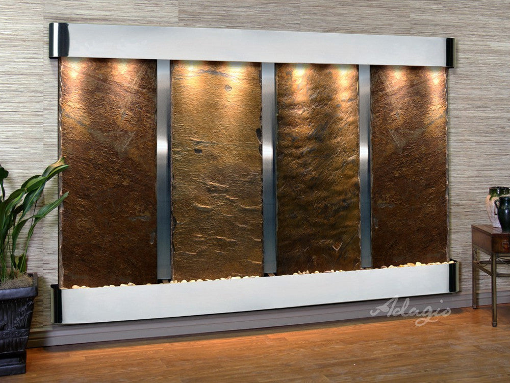 Regal Falls - Multi-Color Slate - Stainless Steel - Rounded Corners - Soothing Walls